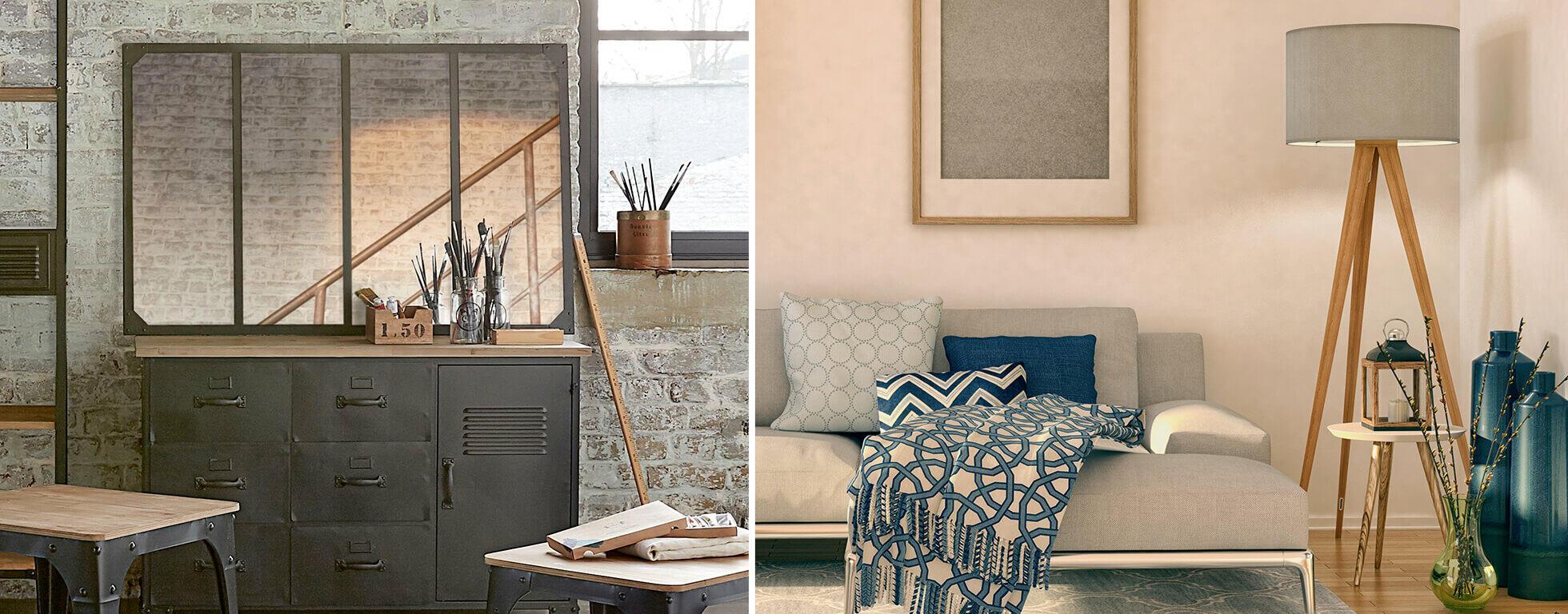 habitación decorada con espejo industrial y textil tendencia