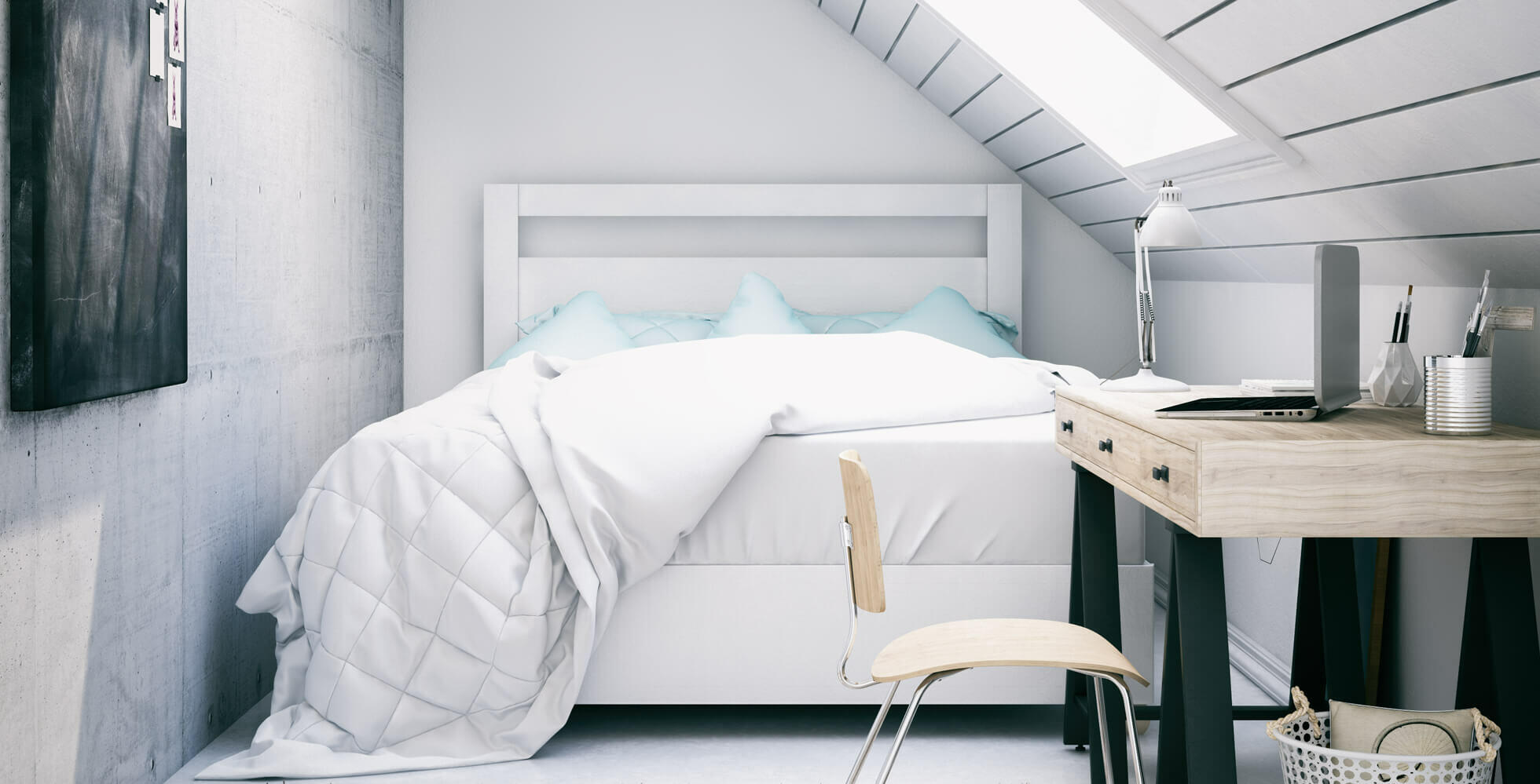 dormitorio pequeño bajo techo con ventana velux