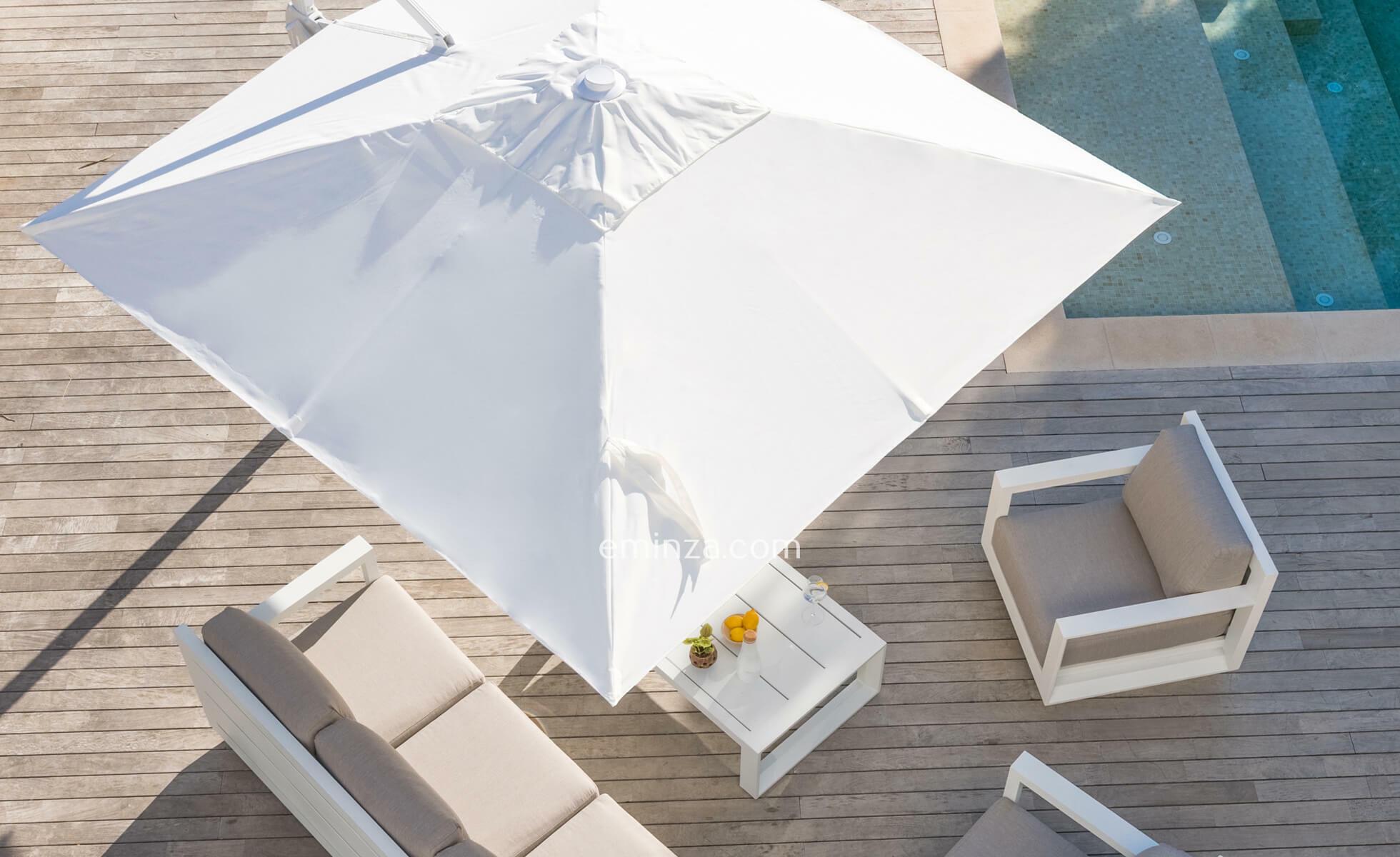 parasol de brazo lateral giratorio blanco