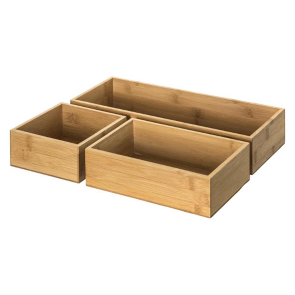 cajas para ordenar de bambú baño