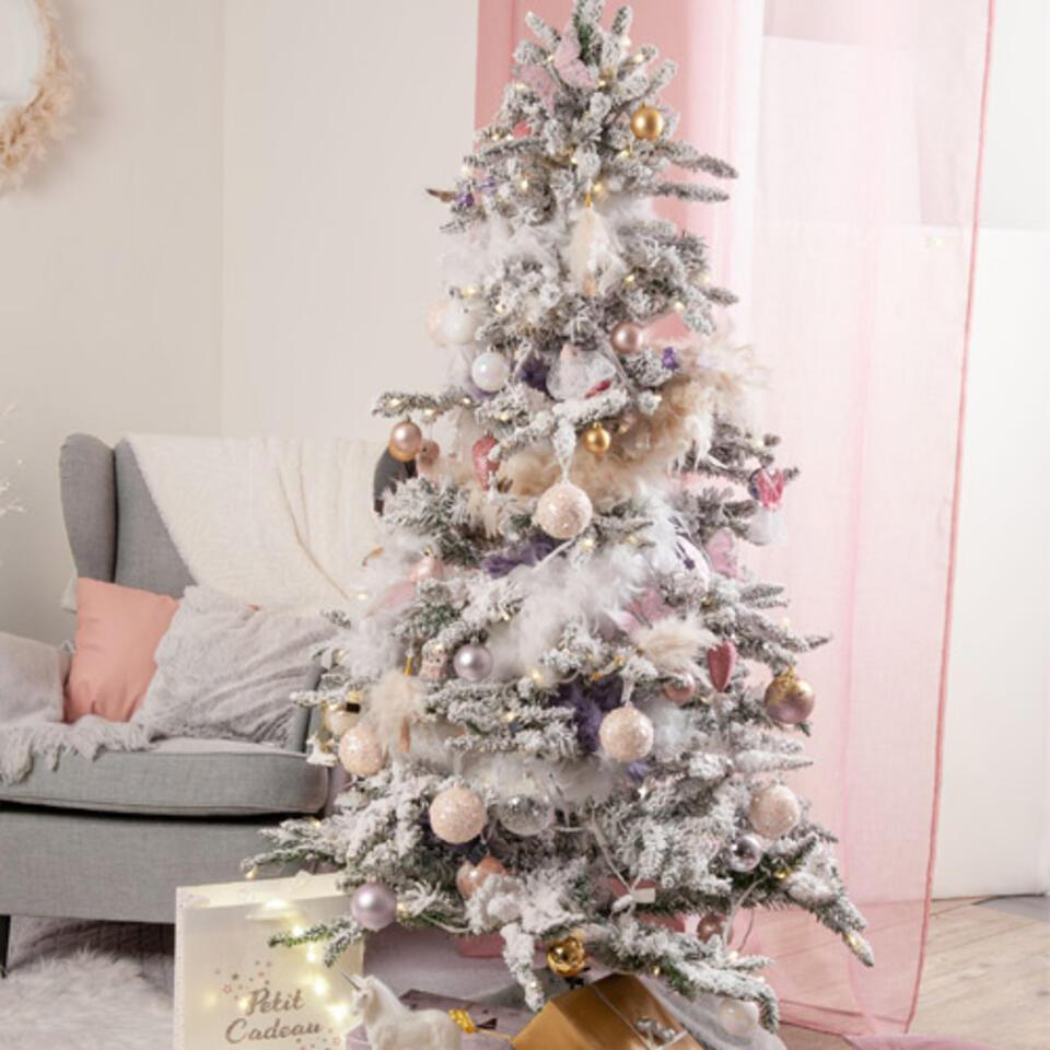 arbol de Navidad decoracion rosa y blanco