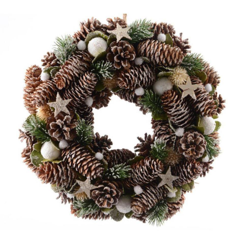 corona de Navidad con conos de pino