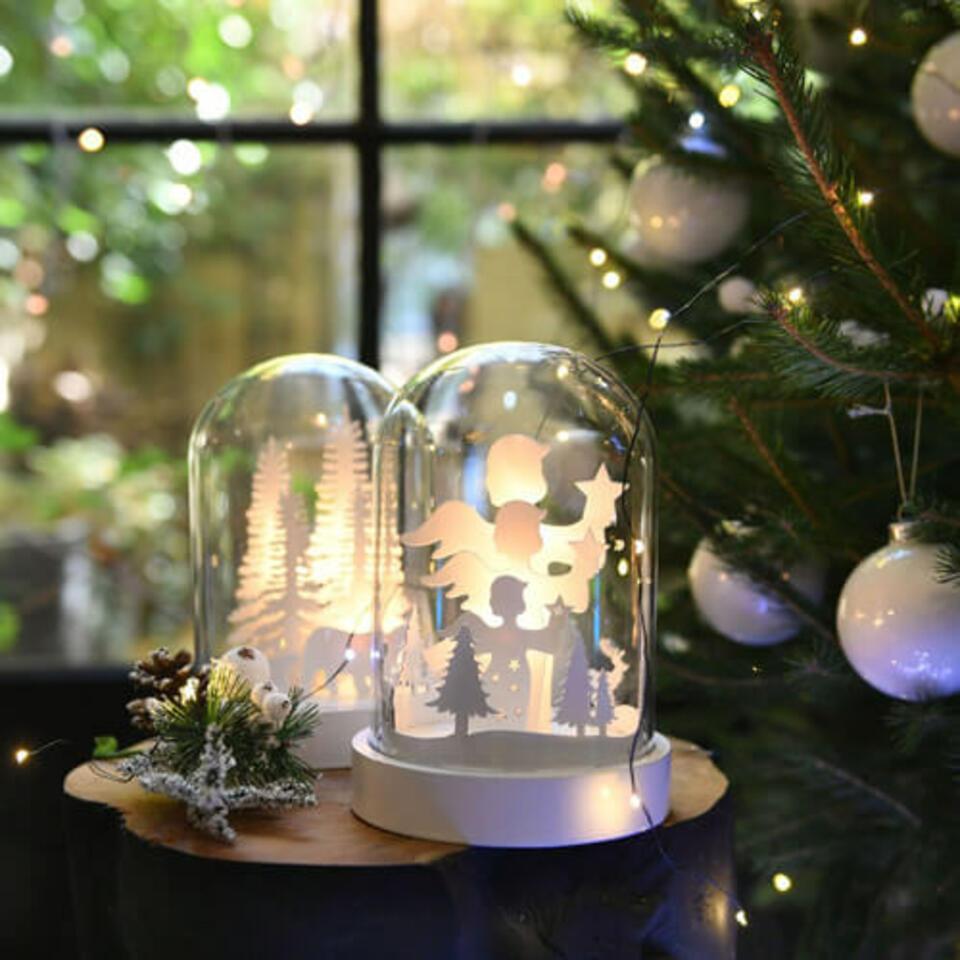 campana de vidrio con luces