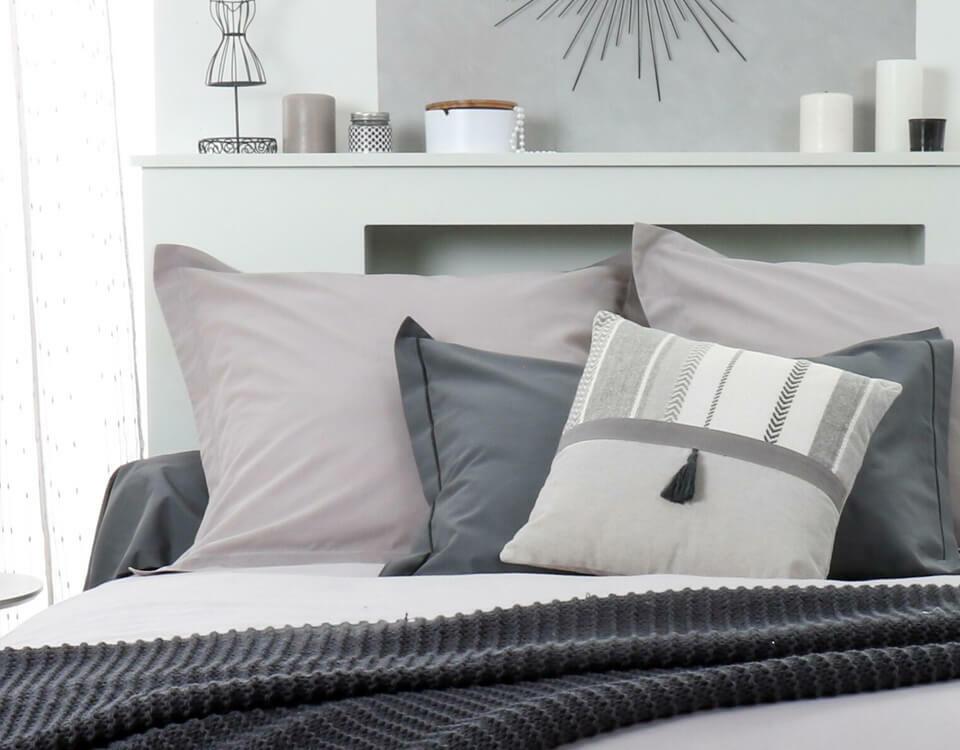 dormitorio tonos de gris