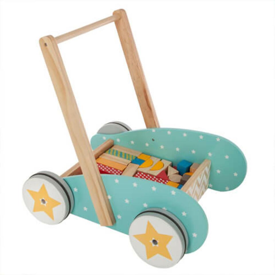 Carrito de madera con ruedas para niños