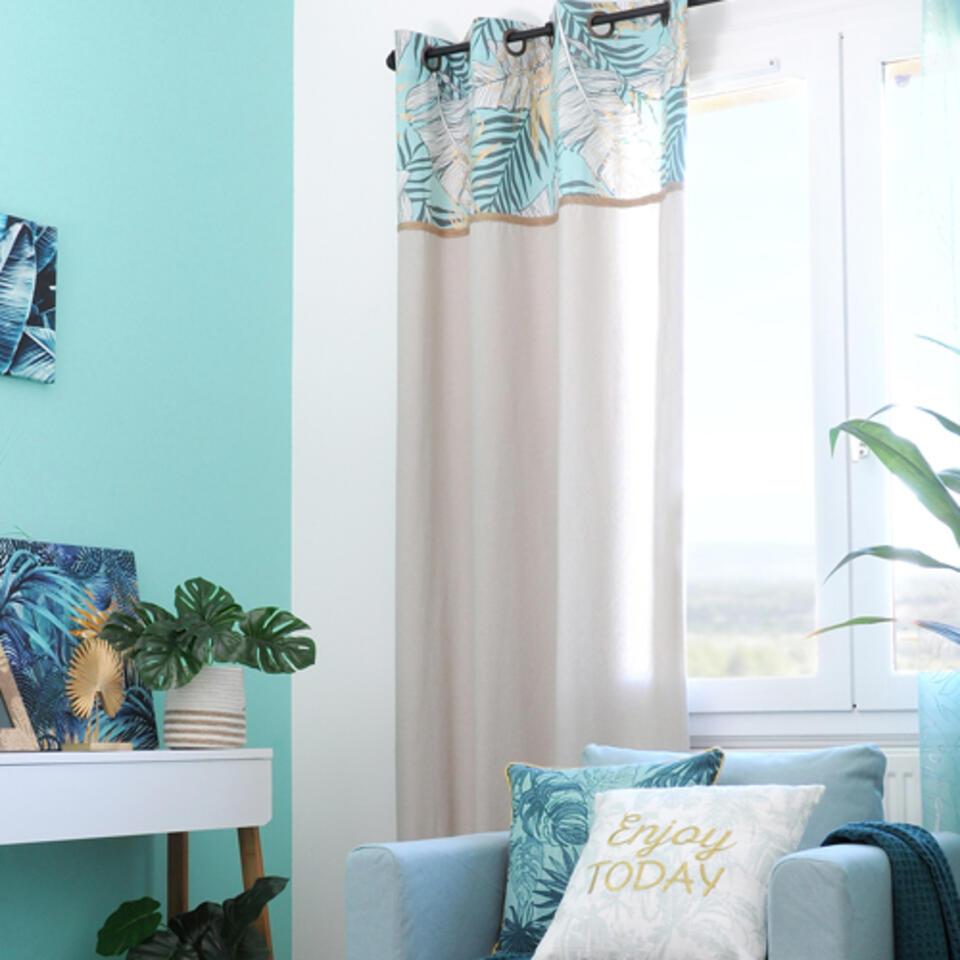 cortina azul trullo y oro