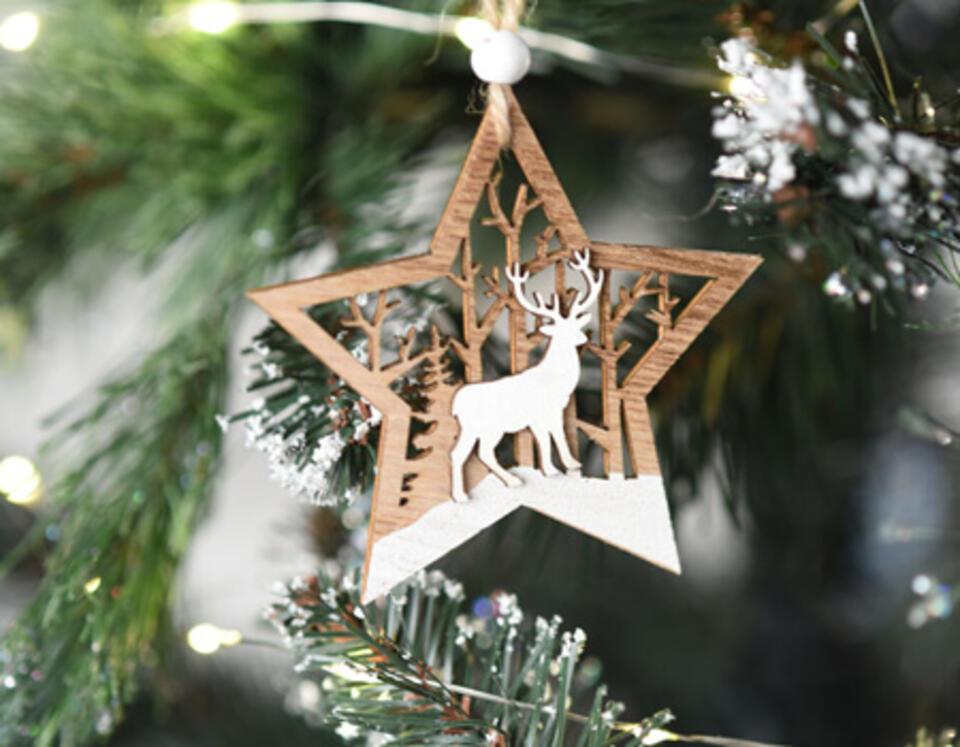 decoración de Navidad madera y blanco