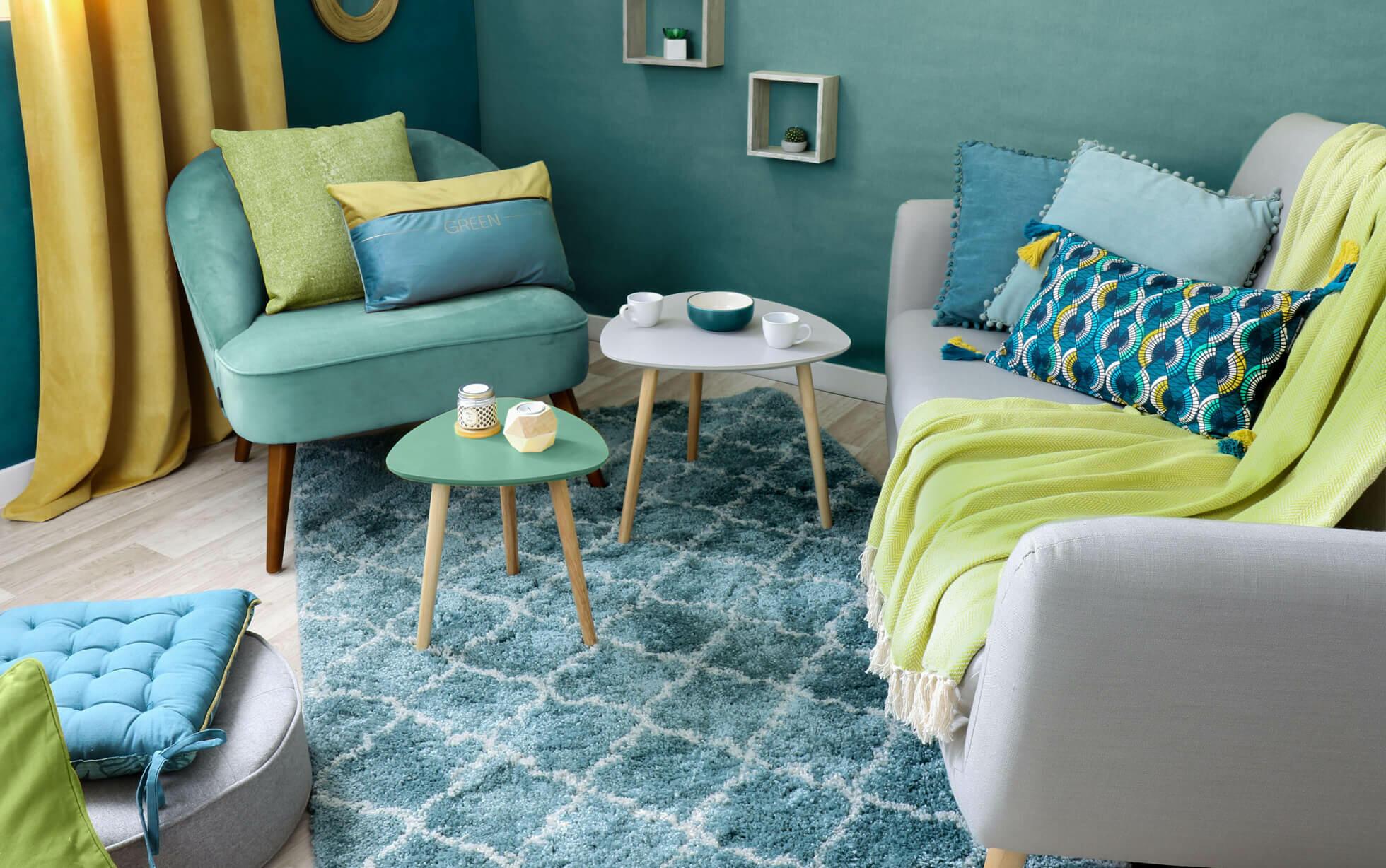 salón azul verde