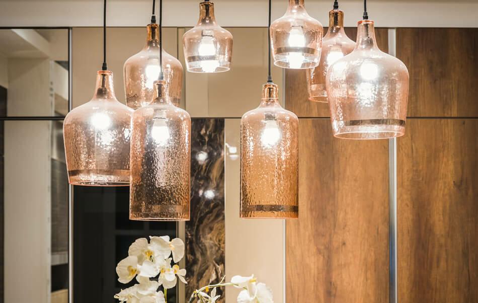 lámpara de techo de vidrio
