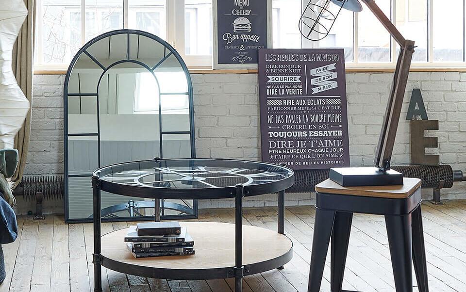 salón con muebles industriales