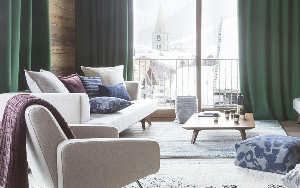 salón moderno con alfombra bereber