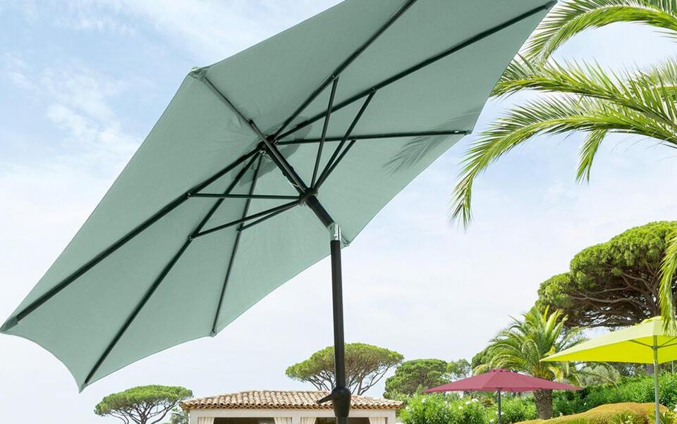 parasol reclinable verde agua