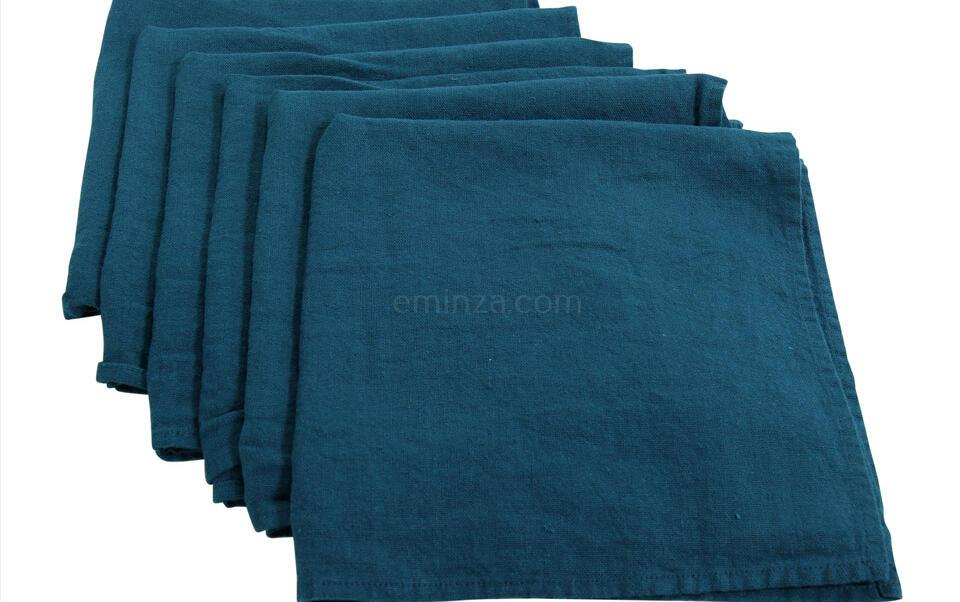 servilletas azul lino lavado