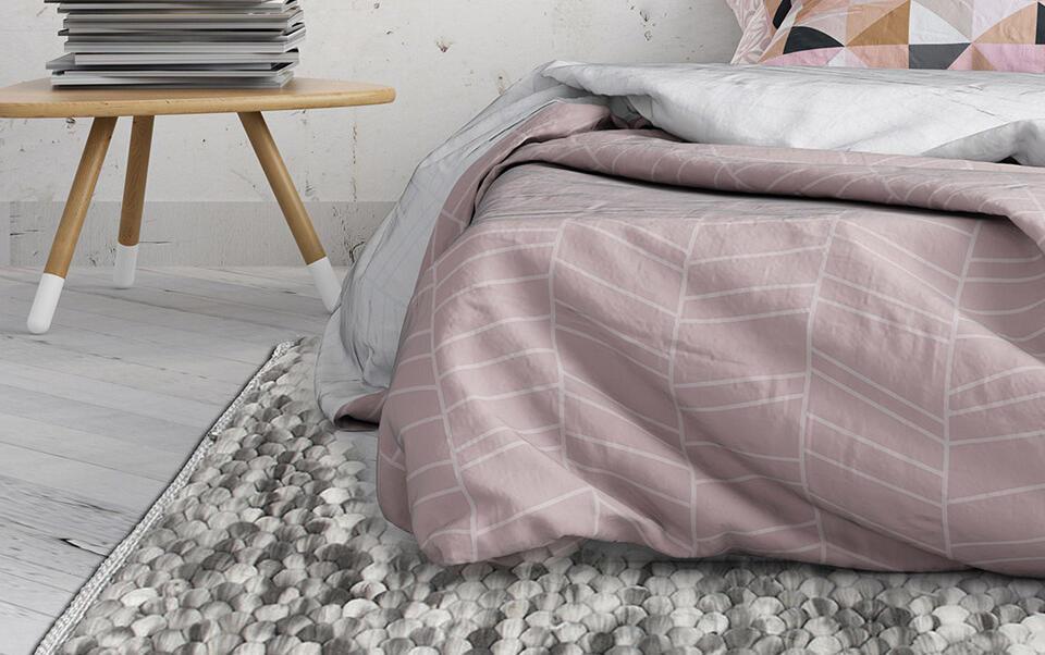 alfombra bola gris efecto lana