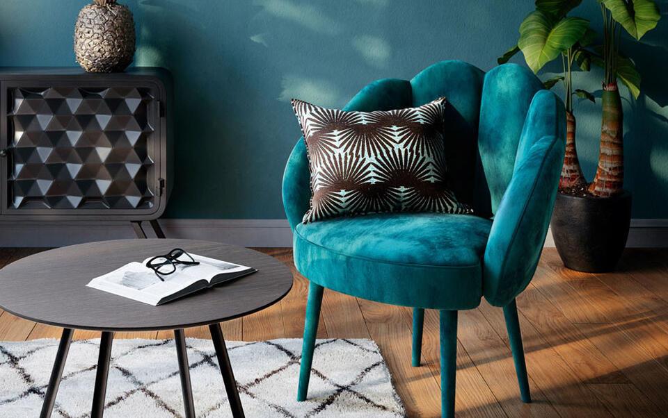 sillón tercipelo azul trullo