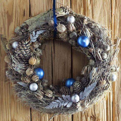 corona de Navidad de madera