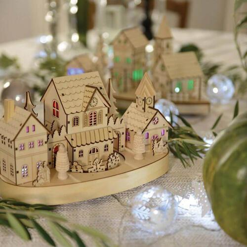 pueblo de navidad luminoso en madera