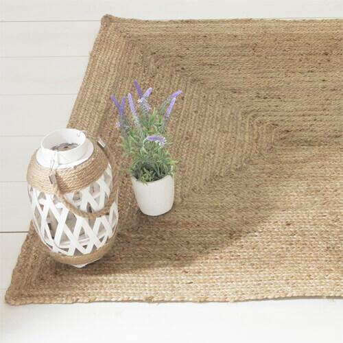 alfombra rectangular de yute