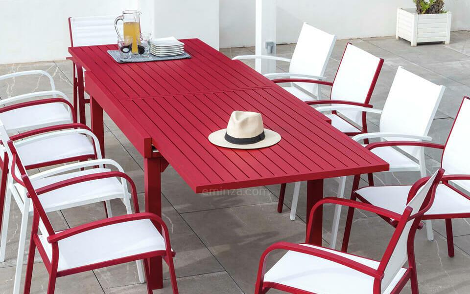 mesa de jardin roja aluminio